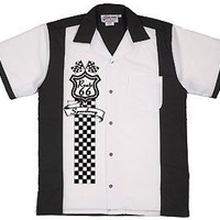 Route 66 Speedway Bowling Shirt White & Black Retro Bowler