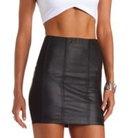 FAUX LEATHER PANELED MINI SKIRT