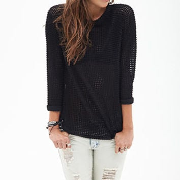 Open-Knit Raglan Sweater