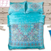 FADFAY Home Textile,Boho Bedding Set,Bohemia Exotic Bedding Set,Chinese Bedding Set,4Pcs,Queen
