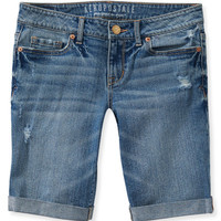 Destroyed Light Wash Denim Bermuda Shorts