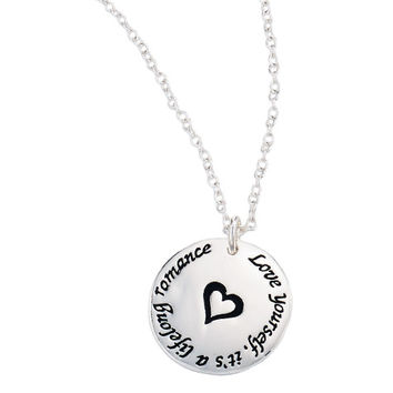 Avon: FOREVER Selected by Paula Abdul Inspirational Pendant Disc Necklace