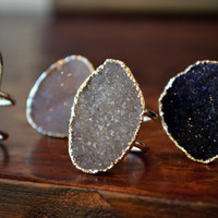 GALAXY DRUZY /// Double Banded Agate Druzy Silver Electroformed Ring /// Lux Divine