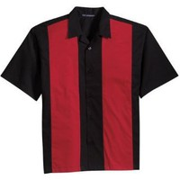 Port Authority Retro Bowling Shirt (S300B) Medium Black-Red [Apparel] [Apparel]