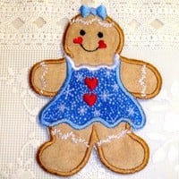 Christmas gingerbread girl applique iron on patch blue snowflake dress | UniqueEmbroideries - Seasonal on ArtFire