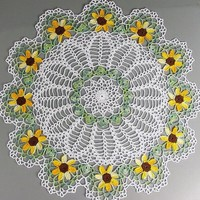 """Beautiful Large Centerpiece Crocheted White Shaded Yellow Green Brown Sunflower Doily - 19 1/2"""""""
