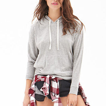FOREVER 21 Heathered Knit Pullover Heather Grey
