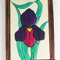 Handcrafted Wooden Intarsia Purple Iris Flower Wall Hanging Plaque