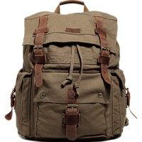 Kattee Vintage Canvas Leather Hiking Travel Backpack School Bag Fit 17 Inch Laptop Army Green
