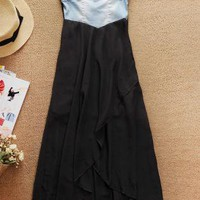 Black Strapless Dress - Denim Strapless High Low Chiffon | UsTrendy