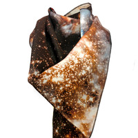 Sepia Galaxy Silk Scarf Handkerchief by shadowplaynyc on Etsy
