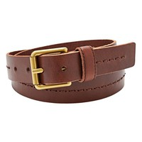 Fossil Square Buckle Stitched Leather Belt