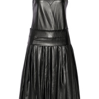 DKNY | Drop-waist faux leather midi dress | NET-A-PORTER.COM