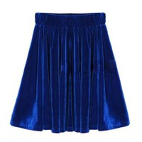 High Waist Stretch Pleated Jersey Plain Skater Flared Mini Skirt Phd Hot