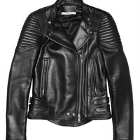 Givenchy - Black leather biker jacket with ribbed panels