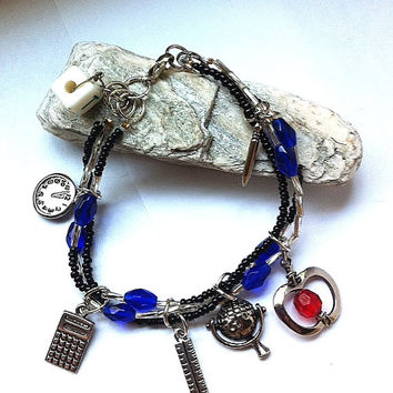 "the ""teachers pet"" charm bracelet for teacher with school charms, teacher bracelet, school bracelet, blue bracelet, teacher gifts, school"