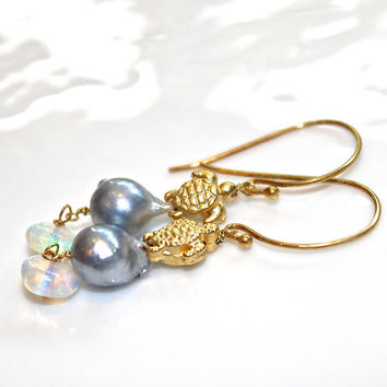 Tiny Turtle Earrings Grey Pearl Earrings Ethiopian Opal Earrings Delicate Jewelry Simple Earrings Fun Earrings Akoya Pearl Turtle Jewelry