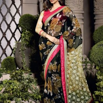 Buy Traditional Designer Wear Georgette, Net Saree Shibori Fashion