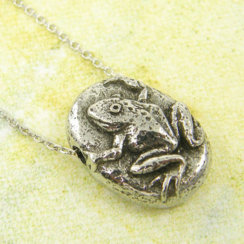 Silver Frog Necklace, Toad Necklace, Safe Journey Nature Jewelry Charm Quote Minimalist Jewelry