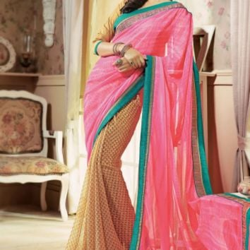 Buy Traditional Designer Wear Chiffon Saree at Shibori Fashion