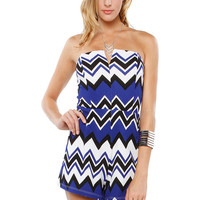Papaya Clothing Online :: CHEVRON LOW CUT ROMPER