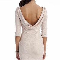 glitter cowl back dress $32.80 in BLACK BLUSH IVORY - New Dresses | GoJane.com