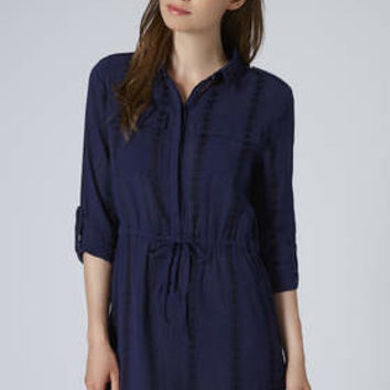 Embroidered Shirt Dress - Navy Blue