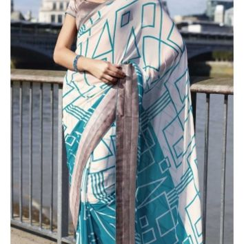 Buy Casual Party Wear Printed Georgette Saree Designer wear at Shibori Fashion