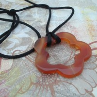 Nursing Necklace Carnelian Flower pendant black satin cord