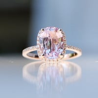 2.81ct Cushion raspberry peach champagne sapphire 14k rose gold diamond ring engagement ring