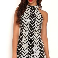 Sequin Chevron Print Bodycon Dress with Mock Neck and Keyhole Back