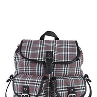 Plaid Backpack with 2 Pockets and Buckles