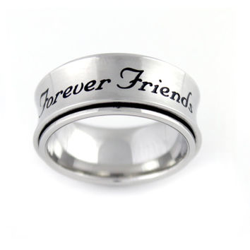 Spinner Ring Forever Friends Spin Gift Stainless Still Men's Women's Ring.
