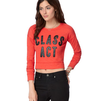 Aeropostale Womens Class Act Crop Sweatshirt - Red,