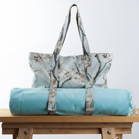 New Yoga Mat Bag - Sakura Tote Bag - Yoga Bag- Yoga Accessories - Blue Linen Yoga Bag