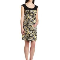 Three Seasons Maternity Women's Sl Print Dress With Belt