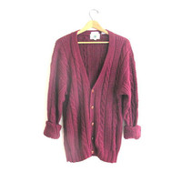 vintage oversized maroon knit cardigan sweater // cable knit button down // size M