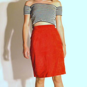 vintage red suede pencil skirt / high waisted minimalist leather mini small