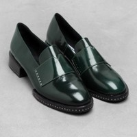 & Other Stories | Stud Leather Loafers | Green Dark