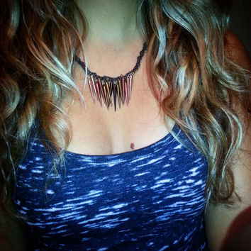 Spikes Kumihimo Necklace - Custom Order.