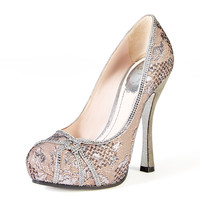 Crystal Accented Metallic Lace Pump by Rene Caovilla at Gilt