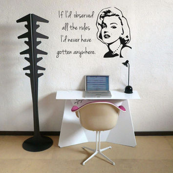 Marilyn Monroe - If I'd Observed All The Rules - Quote - Wall Art Decal