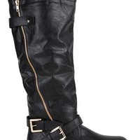 Tall Riding Boot with Side Zipper and Buckles