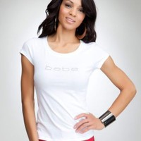 bebe Logo Basic Rhinestone Tee