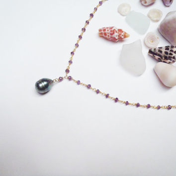 Tahitian Pearl Amethyst Necklace Made in Hawaii