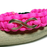 Paracord Survival Bracelet with Infinity Tag Charm Handmade USA Hot Pink Fashion Jewelry