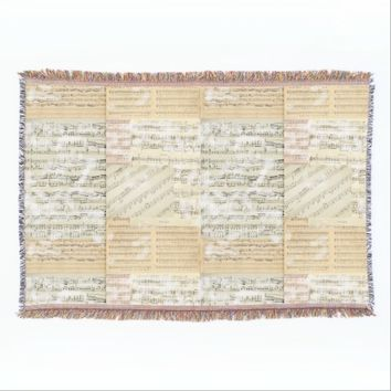 Vintage Sheet Music Throw Blanket