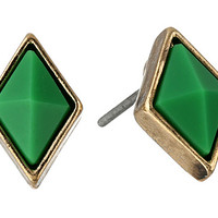 House of Harlow 1960 Wren Feather Stud Earrings Gold Tone/Malachite/Black - Zappos.com Free Shipping BOTH Ways