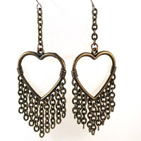 Brass Heart Earrings with Brass Chain Dangles by SeventhChild
