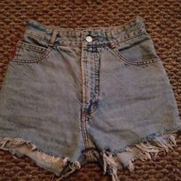Bongo High Waist Light Wash Denim Shorts 26""